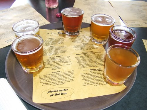 Double Mountain Brewery taster tray