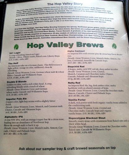 Hop Valley Brewing beer menu