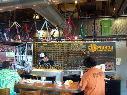 Hopworks Urban Brewery bar