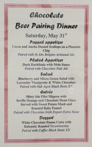 Chocolate Beer Pairing Dinner menu