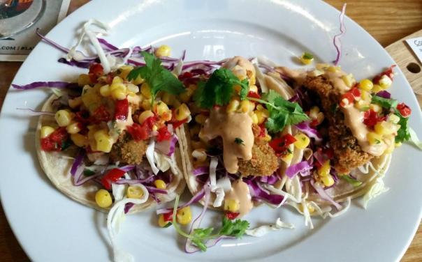 Golden Road fried avocado tacos