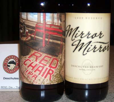 Red Chair IPA and Mirror Mirror from Deschutes Brewery