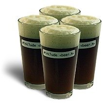 "ThinkGeek ""#include <beer.h>"" pint glasses"