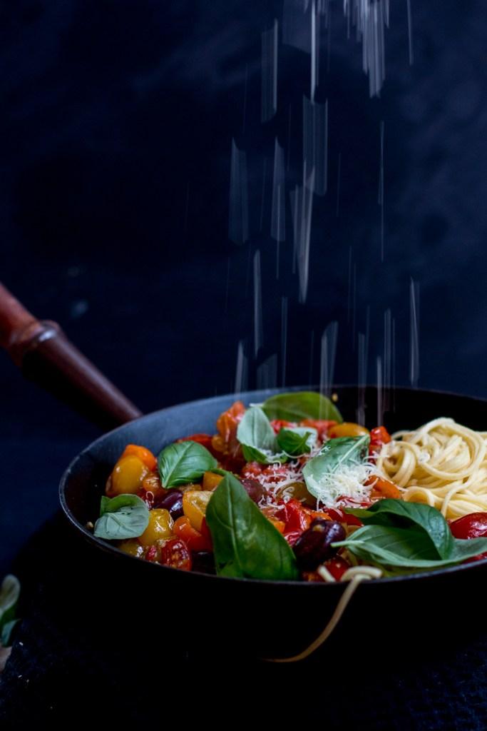 Roasted Tomato & Eggplant Pasta Puttanesca | The Brick Kitchen