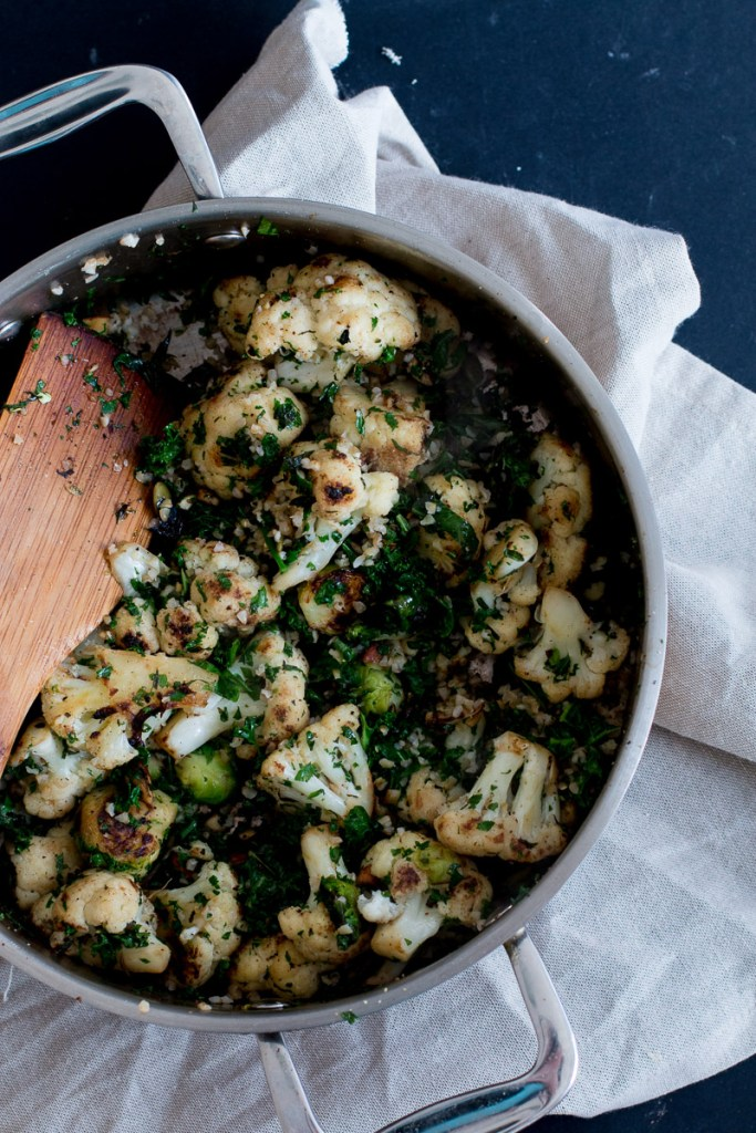 middle-eastern cauliflower & brussel sprout salad with miso almond hummus