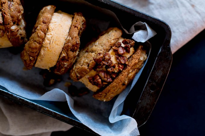 Pumpkin, pecan and white-chocolate ice cream sandwiches - The Brick Litchen