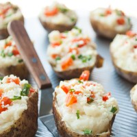 Garlic Mashed Twice Baked Potatoes
