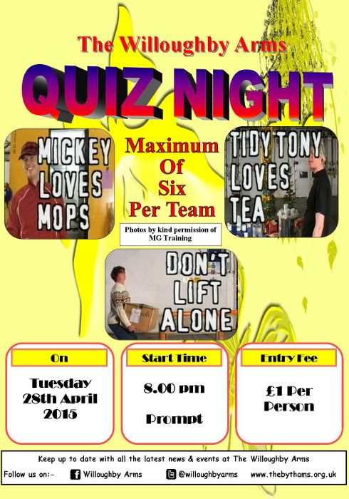 Willoughby Arms Quiz : 28/04/2015