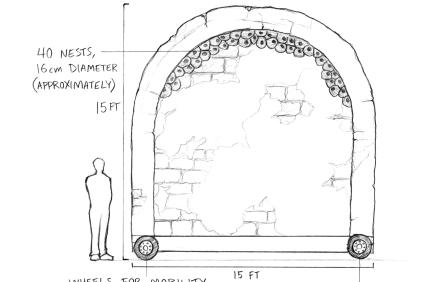 A sketch of the proposed arch, which would hold approximately 40 nests. Photo: Courtesy Mission San Juan Capistrano