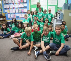 Ryan's class supports him by wearing their Ryan's Recycling shirts. Photo: Allison Jarrell