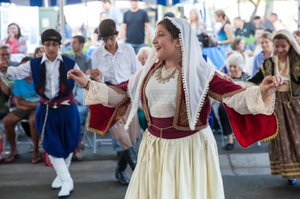 """Eftihia"" dancers perform traditional Greek dances at the San Juan Capistrano Greek Festival on Sept. 17. Photo: Allison Jarrell"