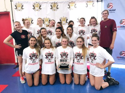 The JSerra girls volleyball team celebrates its Queen's of the Court Tournament victory. Photo: Courtesy