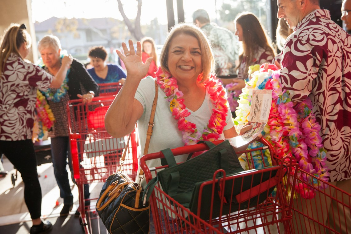 Addie Ogden, of San Juan Capistrano, enters the new Trader Joe's. Photo: Allison Jarrell