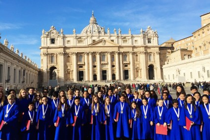 Students of the HarmonKnights Show Choir of St. Anne School in Laguna Niguel performed in the Youth and Young Adult Choir Festival for Epiphany from Dec. 31-Jan. 7 in Rome, Italy. Pope Francis I was in attendance. Photo: Courtesy of St. Anne School.