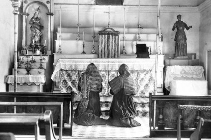 This photo shows a rare old retablo that was restored and became the centerpiece of Serra's Chapel in Mission San Juan Capistrano. Courtesy of San Juan Capistrano Historical Society.