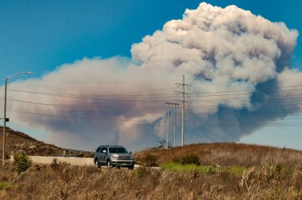 Firefighters are battling a more than 100-acre fire in the Cleveland National Forest near Holy Jim Canyon. Photo: Eric Heinz.