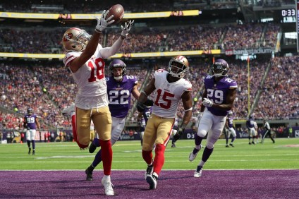 Dante Pettis, San Clemente native and first JSerra alum to be selected in the NFL Draft, pulls in his first career touchdown on his first career reception for the San Francisco 49ers in their season opener in Minnesota. Photo: Meg Williams/San Francisco 49ers.