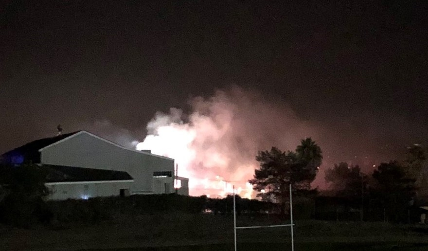 Firefighters on Wednesday, Sept. 19, extinguished a blaze inside a former farmer's market building in San Juan Capsitrano. Photo: Kurt Anh-Khoi To.