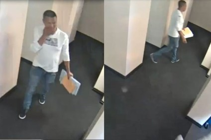 Surveillance video shows a suspect in a sexual assault at the San Juan Capistrano Public Library. Photo: Courtesy of Orange County Sheriff's Department