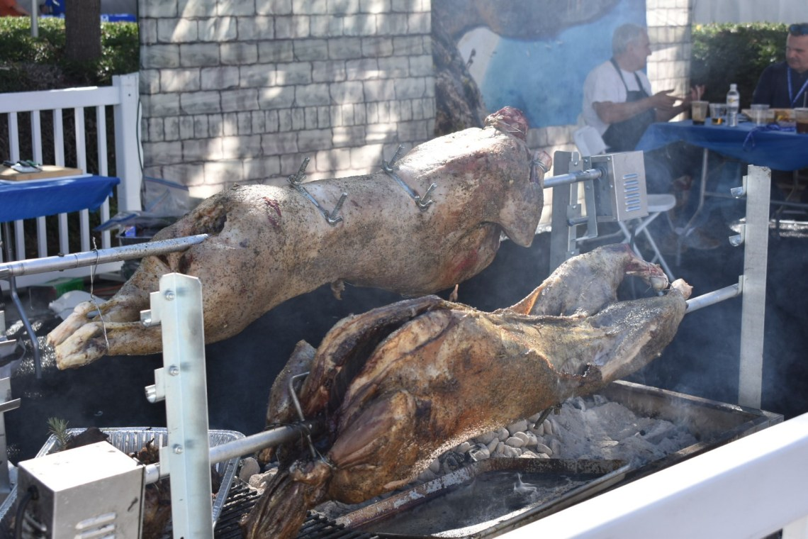 Marinated lamb is roasting at the annual San Juan Capistrano Greek Festival on Saturday, Sept. 29. Photo: Alex Groves