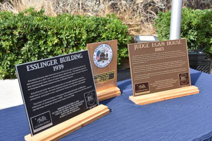 The Santa Ana chapter of the Native Sons of the Golden West presented two plaques for the Esslinger Building (1939) and the Judge Egan House (1883) during a ceremony on Saturday, Oct. 6. Photo: Alex Groves