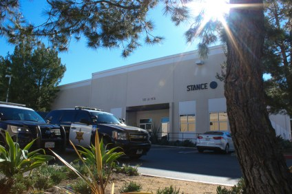 OCSD deputies and bomb squad officers patrol outside the Stance Socks headquarters in San Clemente following a bomb threat Thursday, Dec. 13 sent to the business and other establishments across Orange County and the nation. Photo: Eric Heinz