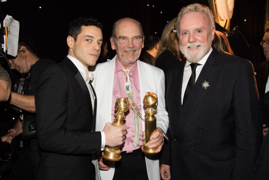 Rami Malek, Jim Beach and Roger Taylor at the 76th Annual Golden Globe Awards at the Beverly Hilton in Beverly Hills, CA on Sunday, January 6, 2019.