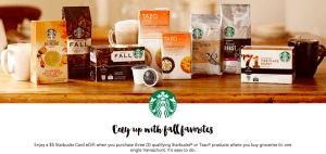 FREE $5 Starbucks GIft Card when you buy 4 Starbucks!