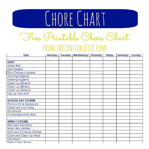Chore Chart Printable Image