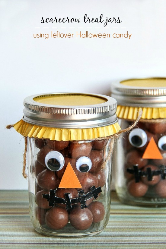 Scarecrow treat jars using leftover Halloween candy