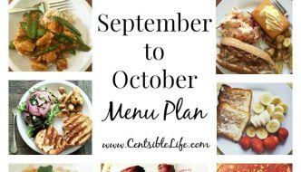 September to October Menu Plan