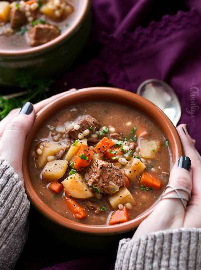 Slow Cooker Beef Barley Soup Recipe - The Chunky Chef