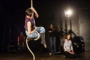 Tina Koch on rope in Me, Mother IMAGE: David Levene