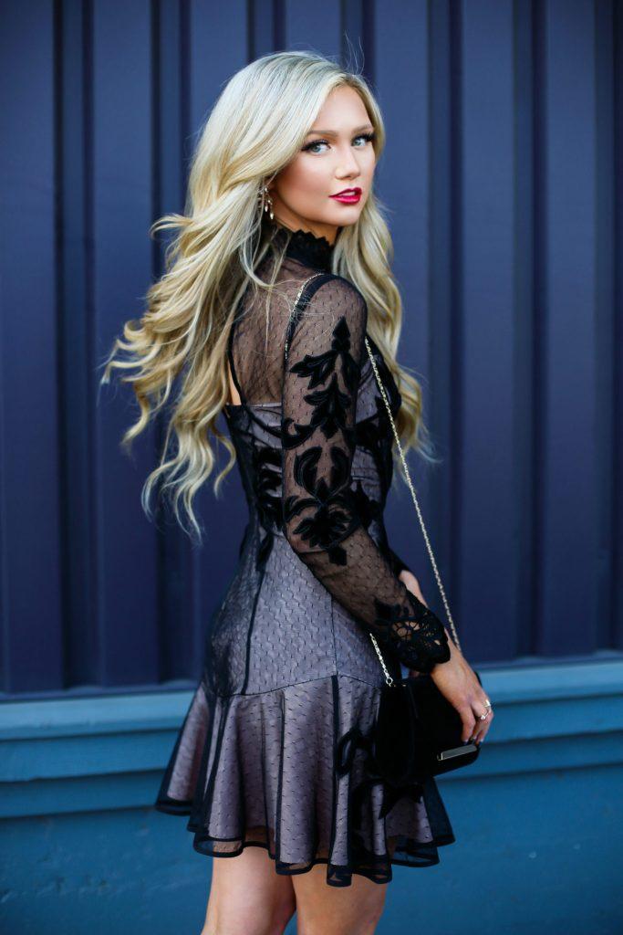 Stephanie-Danielle-TheCityBlonde-Black-Lace-Dress-6705