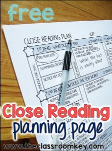 FREE close reading planning page