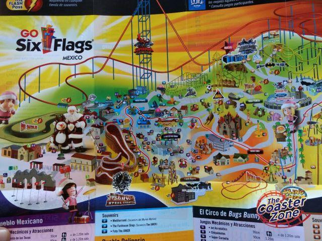 Así luce el mapa navideño de Six Flags.