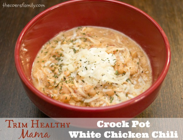 Trim Healthy Mama style Crock Pot White Chicken Chili from thecoersfamily.com