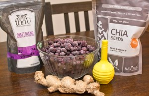 making blueberry ginger chia seed preserves at home
