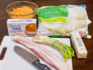 Ingredients for fully loaded baked fauxtato casserole