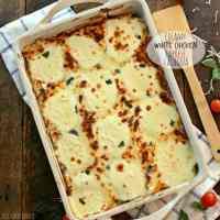 Creamy White Chicken Caprese Lasagna