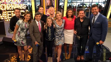 Pictured L-R: Joey Gandolfo - guitar, GMA Host Ginger Zee, GMA Host George Stephanopoulos, Mike Naran- bass, Tegan Marie, Jack Mudd- drums, GMA Host Amy Robach, GMA Host Paula Faris, Ryan Phillips- mandolin and GMA Host Jesse Palmer. Photo Credit: ABC News/ Tony Morrison