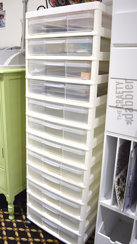 A scrapbooking storage device for 12x12 containers.