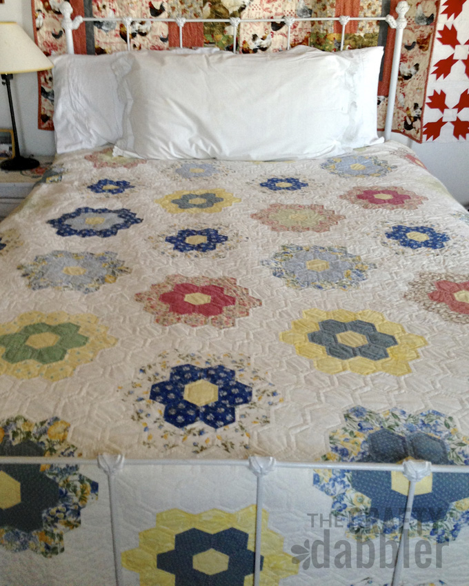 Grandmother's Garden English Paper Pieced Hand Quilted Quilt