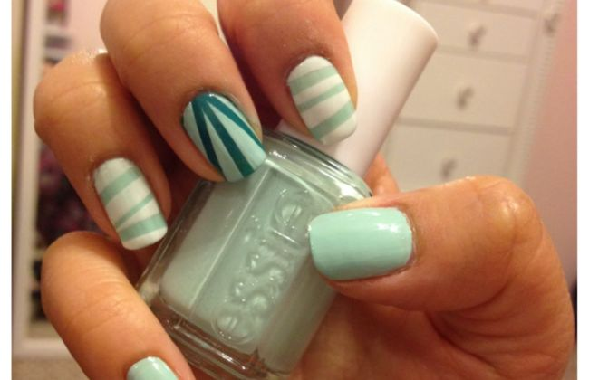 mint candy apple stripes nail