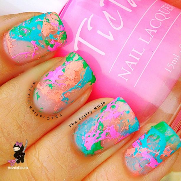 neon spotted nails