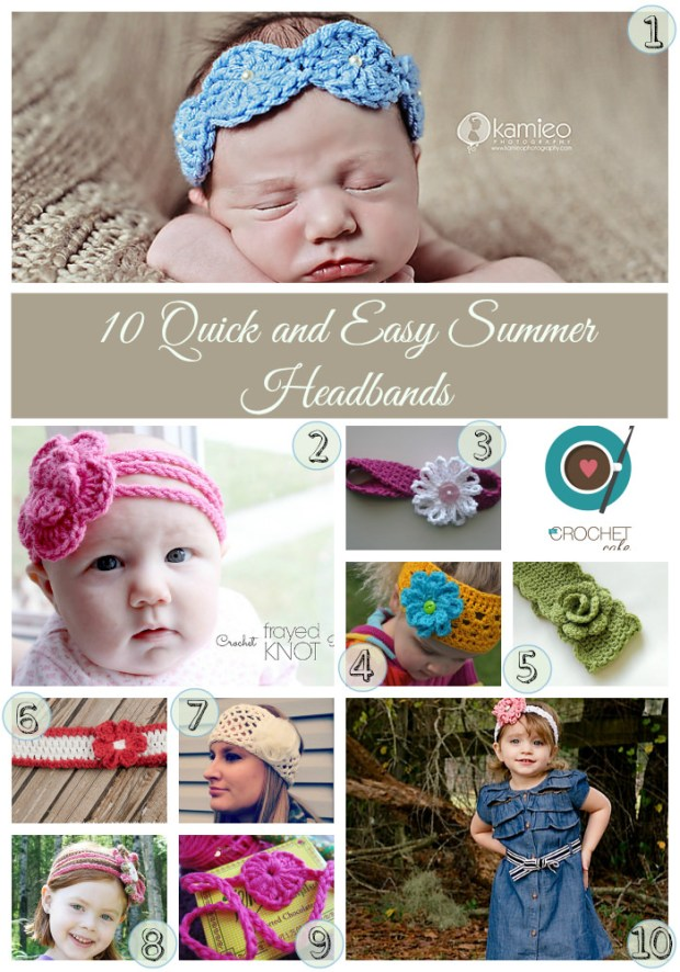 10 Summer Headbands numbered