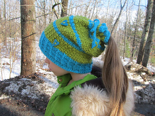 Floating Hearts Convertible Beanie crochet pattern by Blackstone Designs