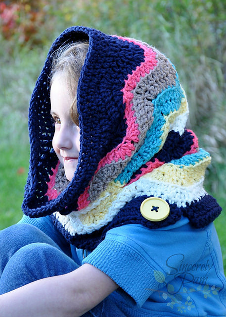 Chevron Hooded Cowl by Sincerely Pam