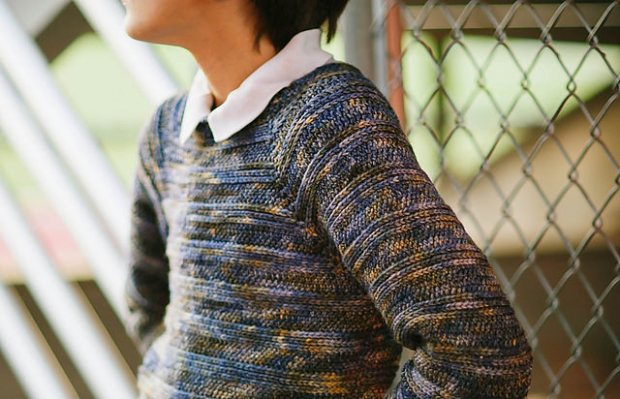 Textured Striped Pullover by Ball Hank n skein