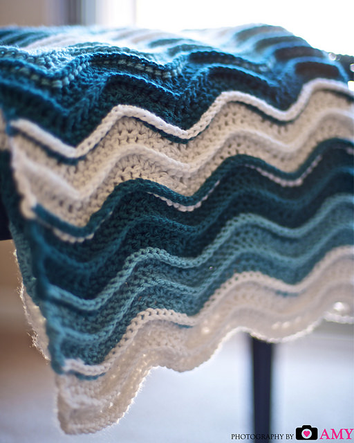 Ocean Waves Blanket by Frayed Knot